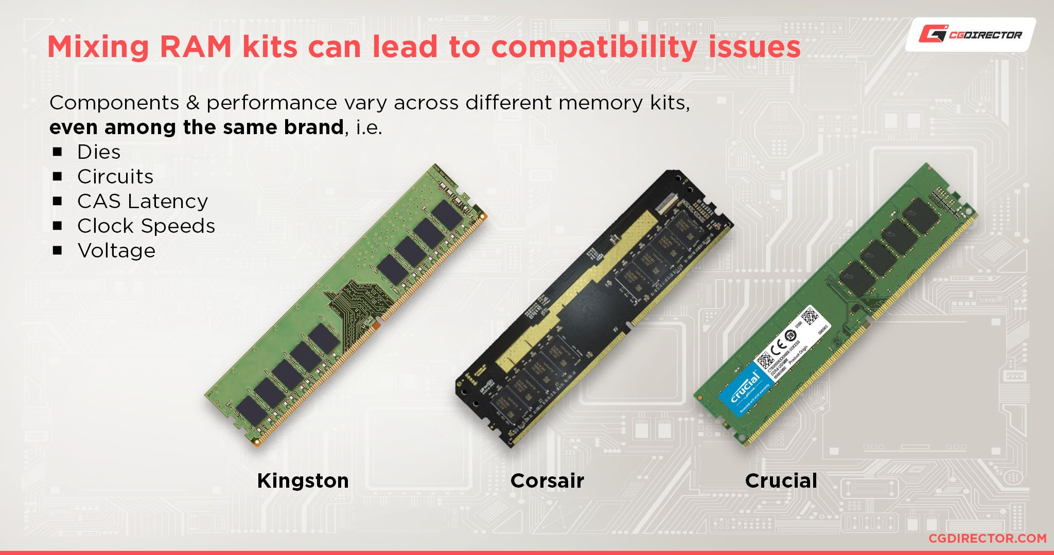 Mixing RAM kits can lead to compatibility issues