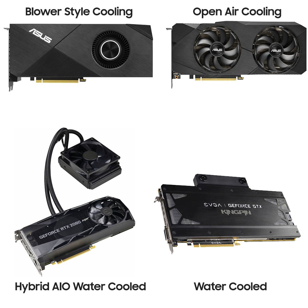 GPU Cooling Variants - Blower - open air - hybrid - water cooled