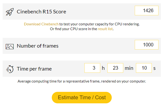 Best Benchmarks for Rendering - Cost Estimator