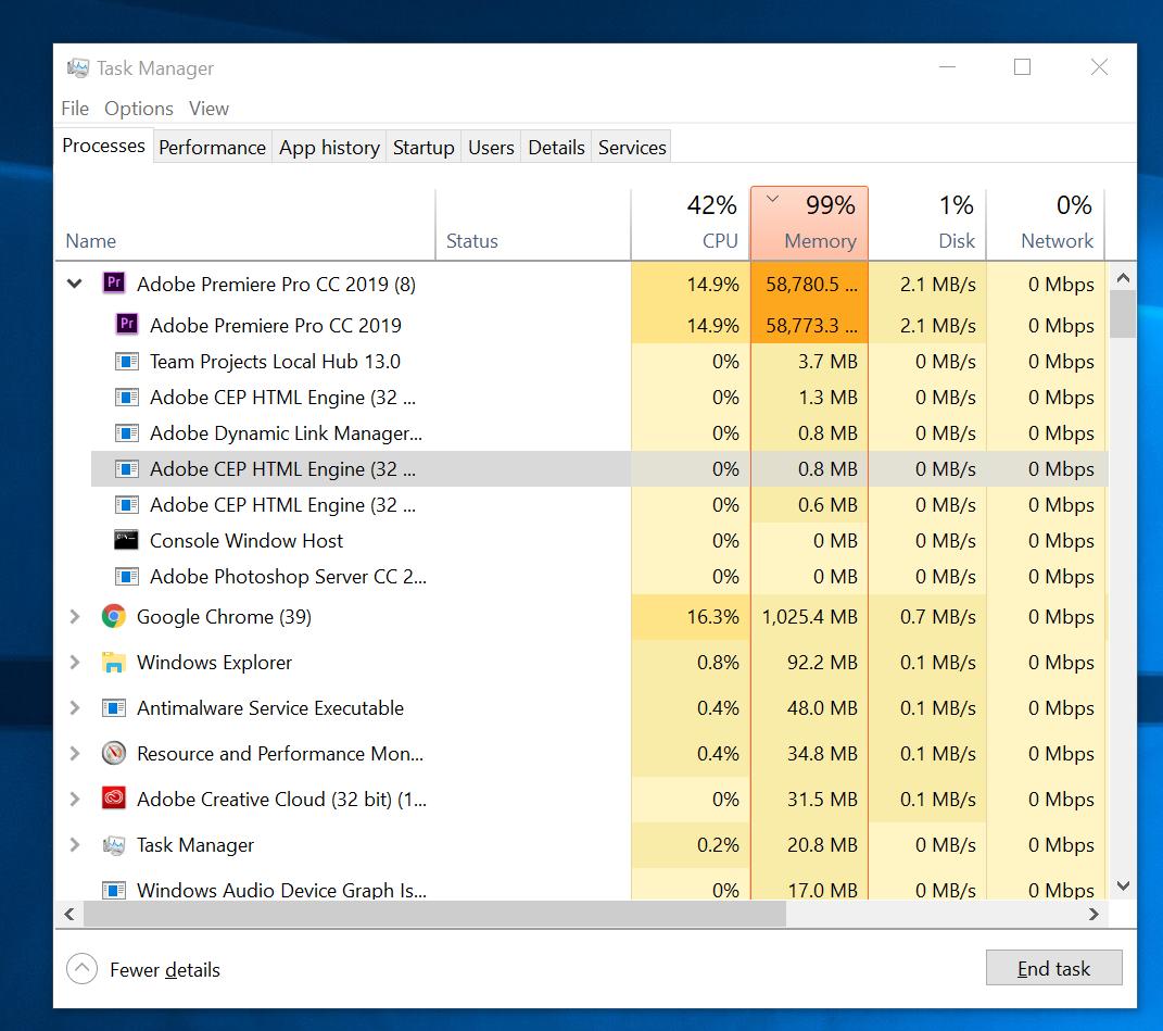 Premiere Pro Memory Usage