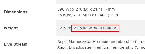 Laptop Battery Weight