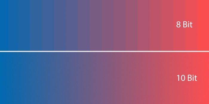 8bit 10bit difference gradient color bit detph