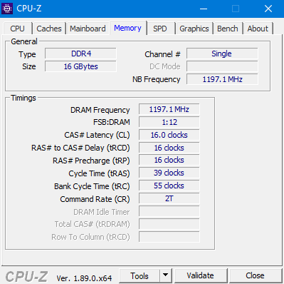CPU-Z RAM Timings Ryzen 3rd Gen 3900X