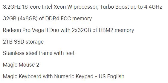 16k dollar Mac Pro 2019 Specs System Configuration