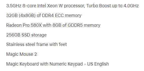 Base Mac Pro 2019 Specs System Configuration