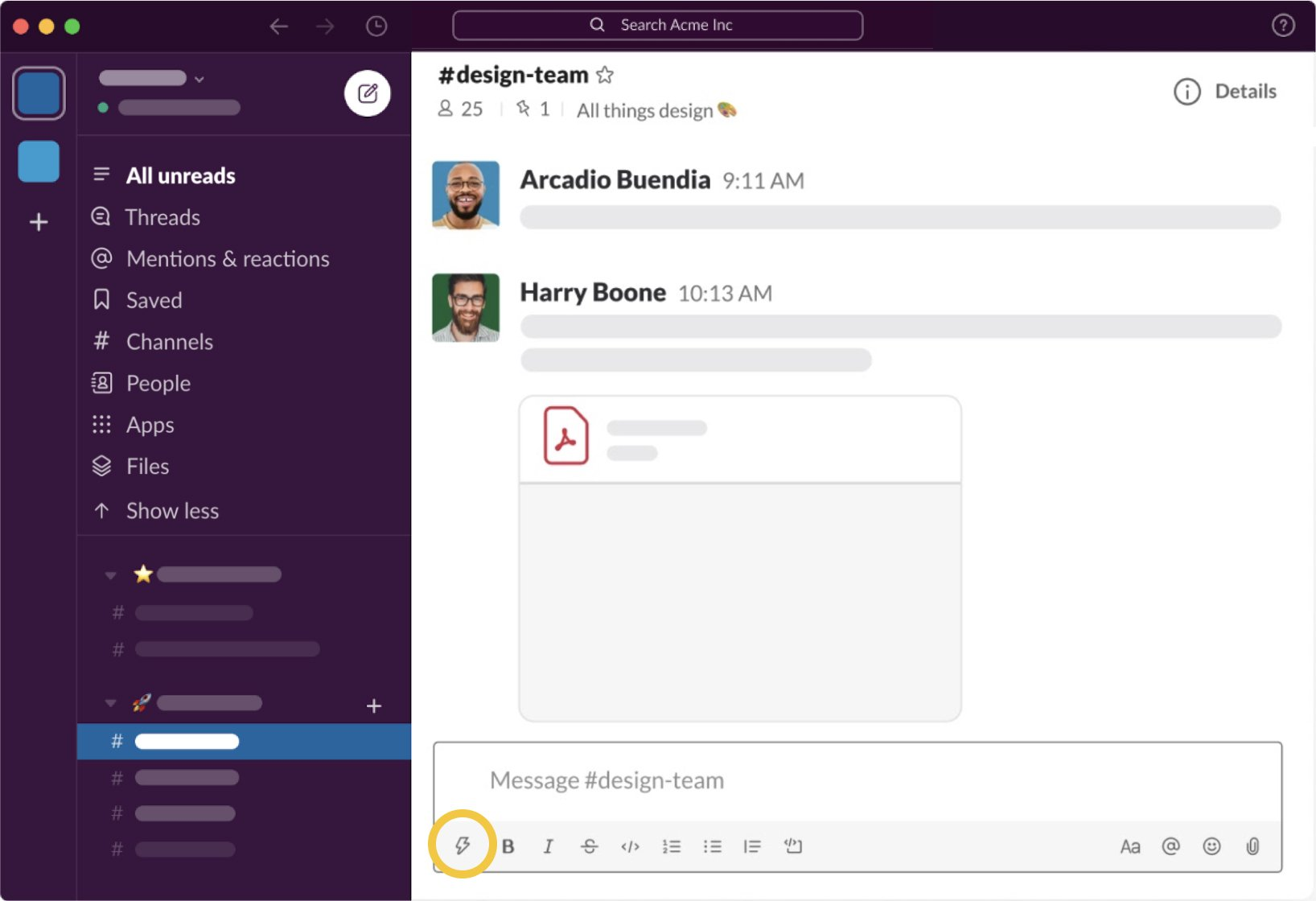 Screenshot of the Slack interface showing a design team channel
