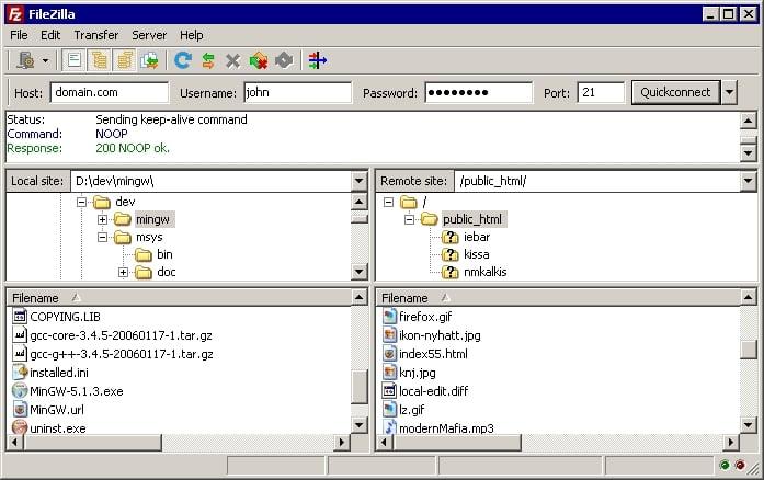 Screenshot of the FileZilla free FTP Client