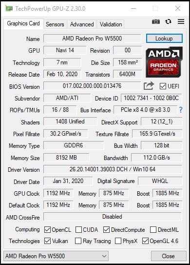 GPU-Z AMD Radeon Pro W5500 Specs