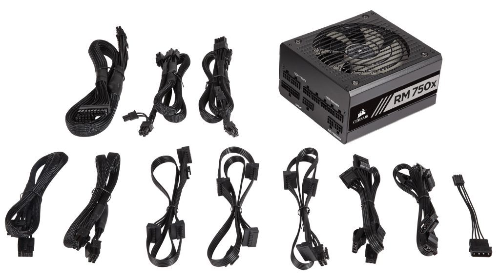 Corsair detachable cables on a modular power supply