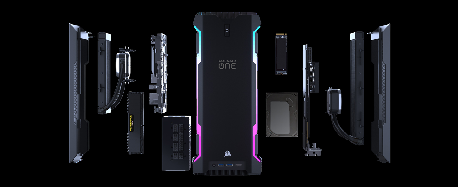 Explosion view of the Corsair One Desktop PC