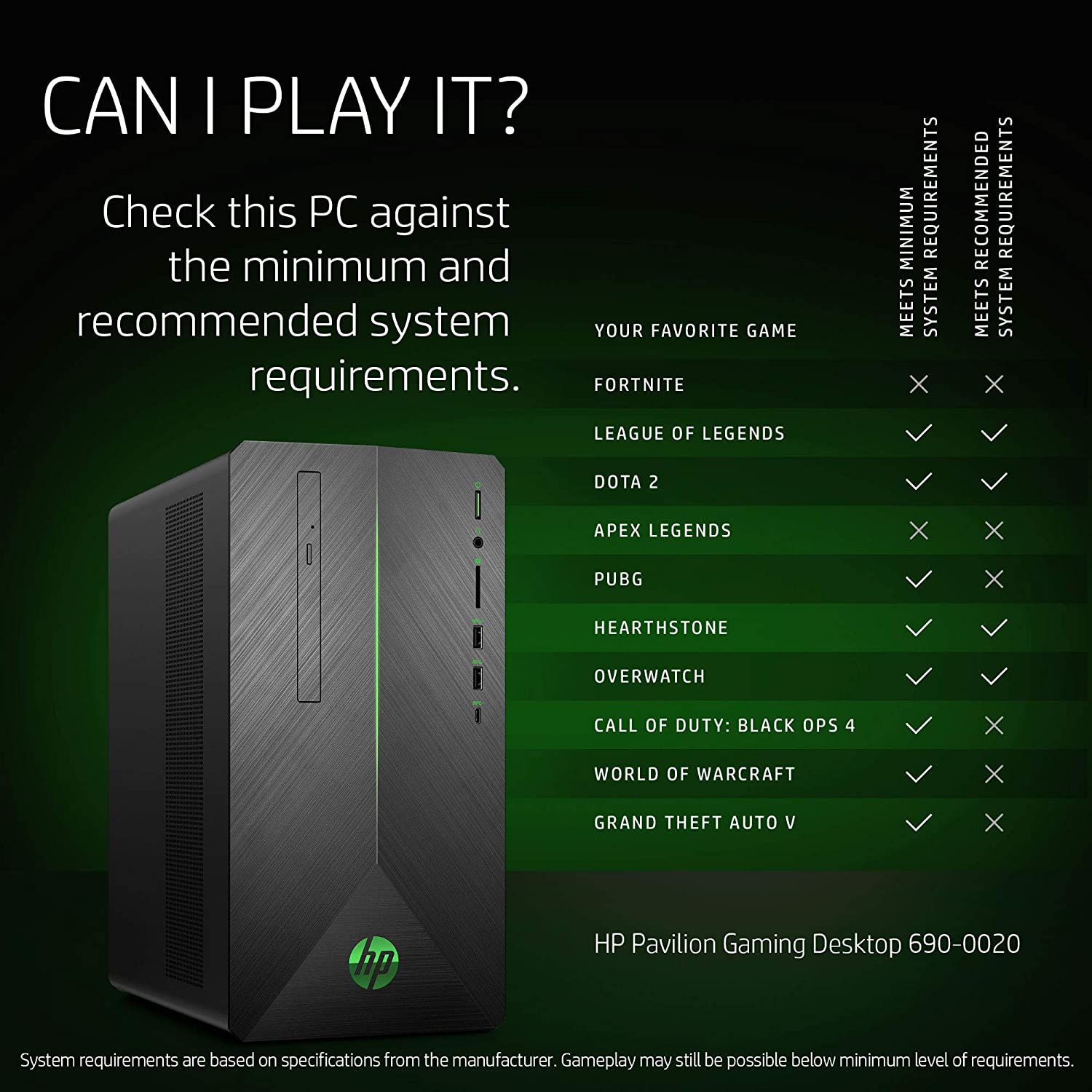 Image of an HP Pavillon Desktop PC with Gaming specs
