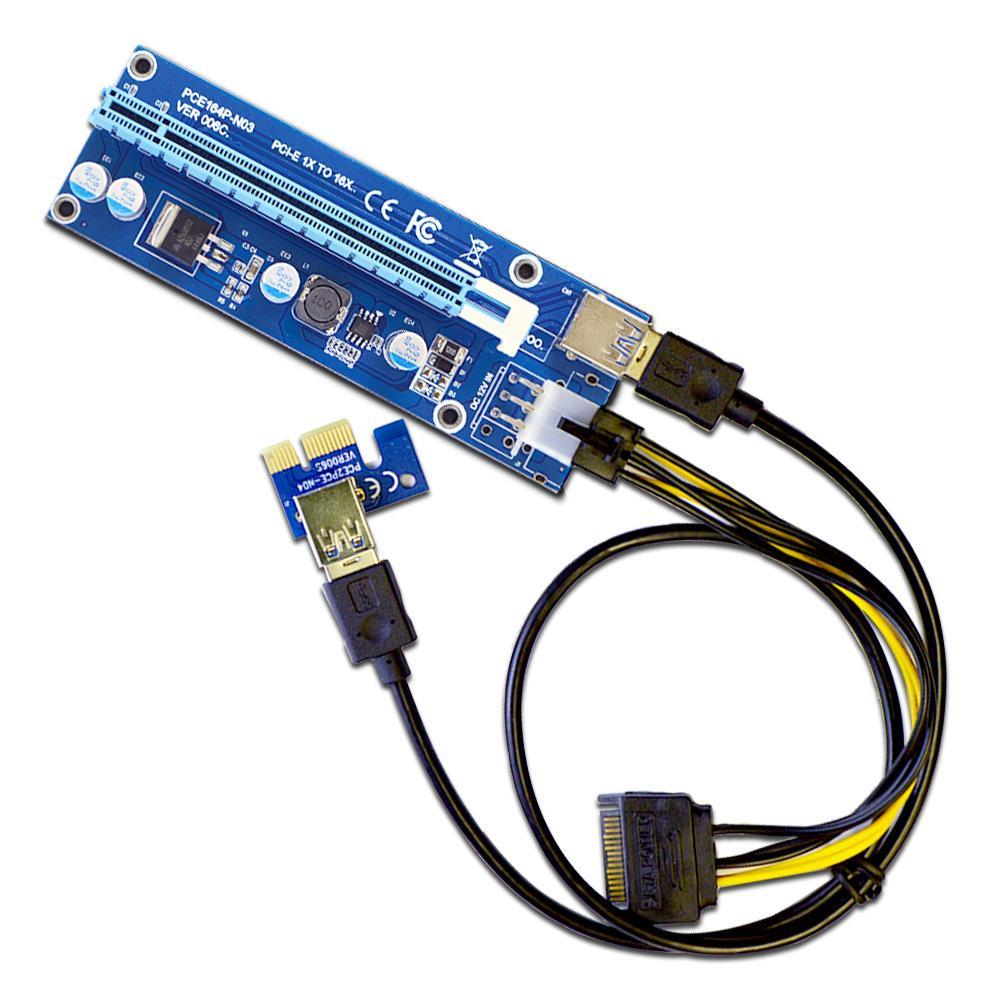 PCI-E 1x to 16X Powered Riser Card w/ 6-Pin PCI-E Power & Enhanced ...