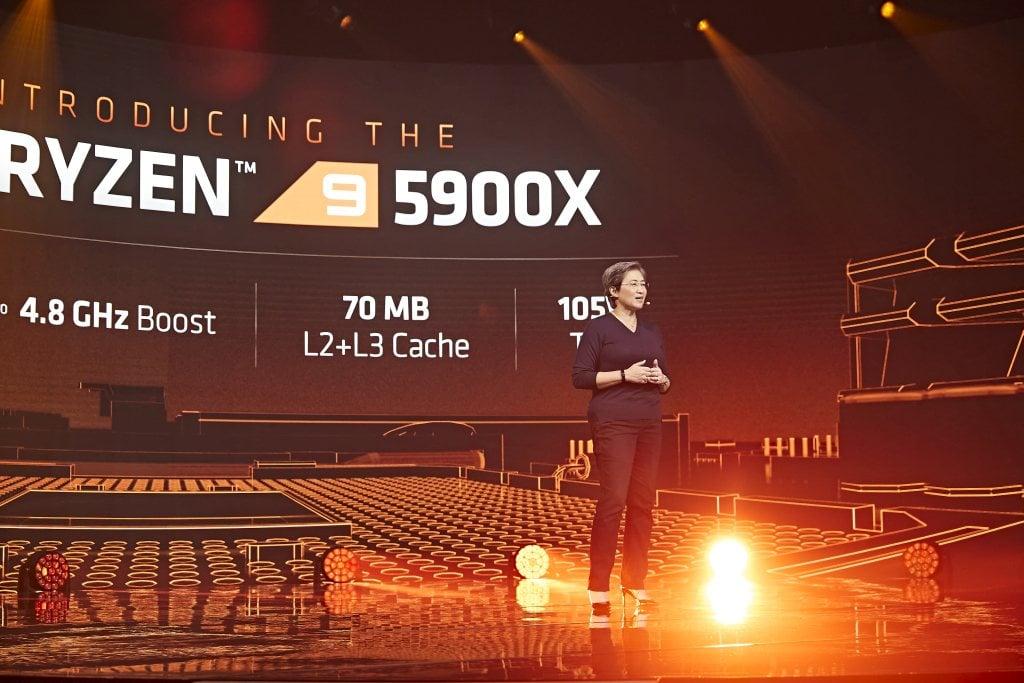 AMD Ryzen 5900X Release Show - Lisa Su standing on stage