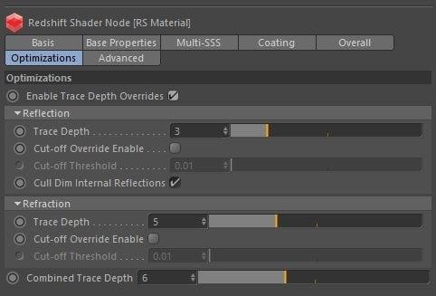 Trace depth override - Make Materials render faster