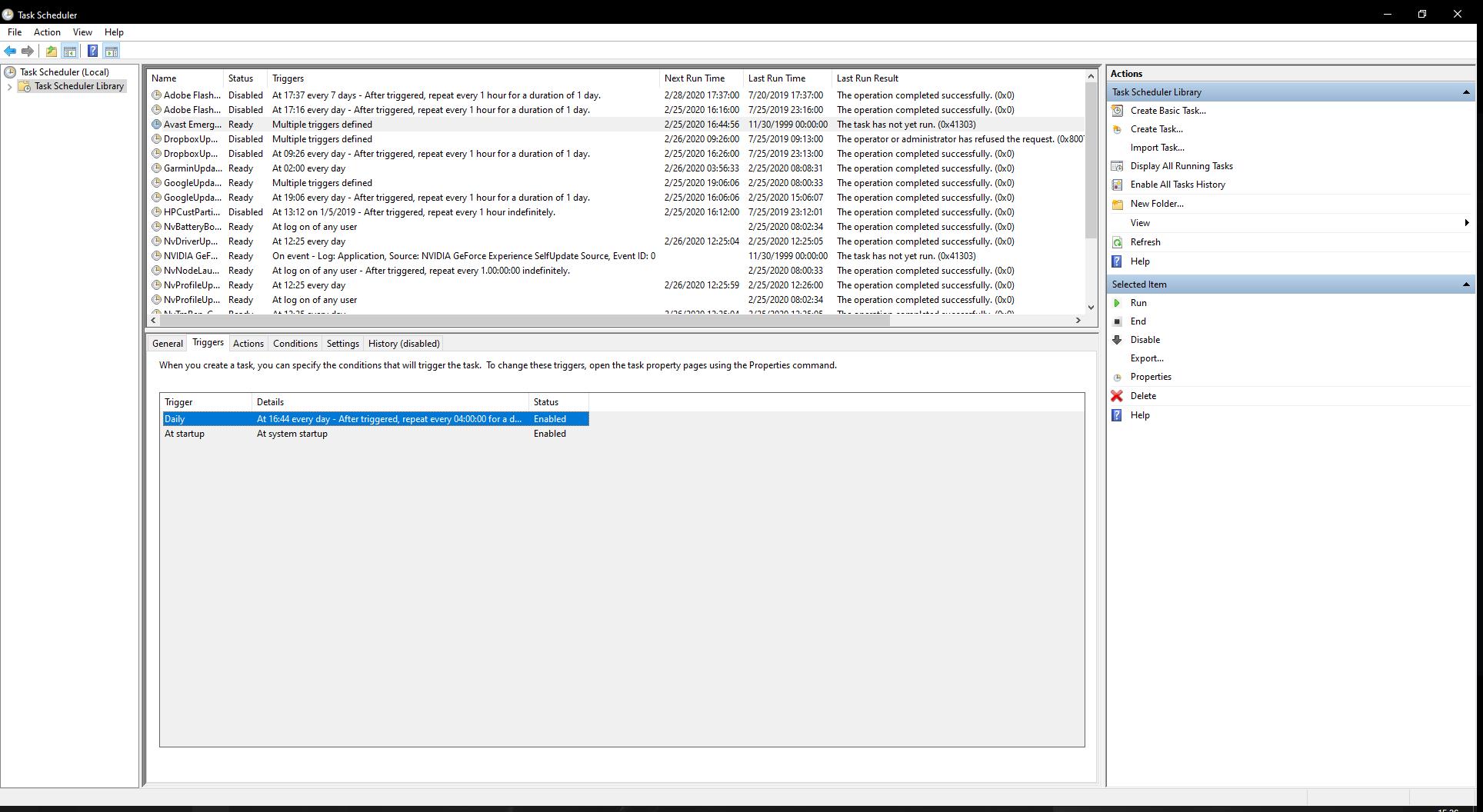 Screenshot of the Win10 Task Scheduler