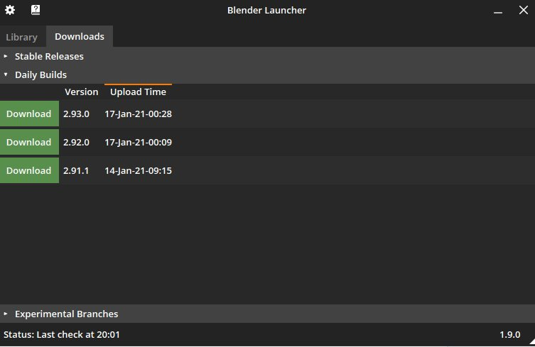 Blender Launcher's Downloads tab featuring all the latest releases.