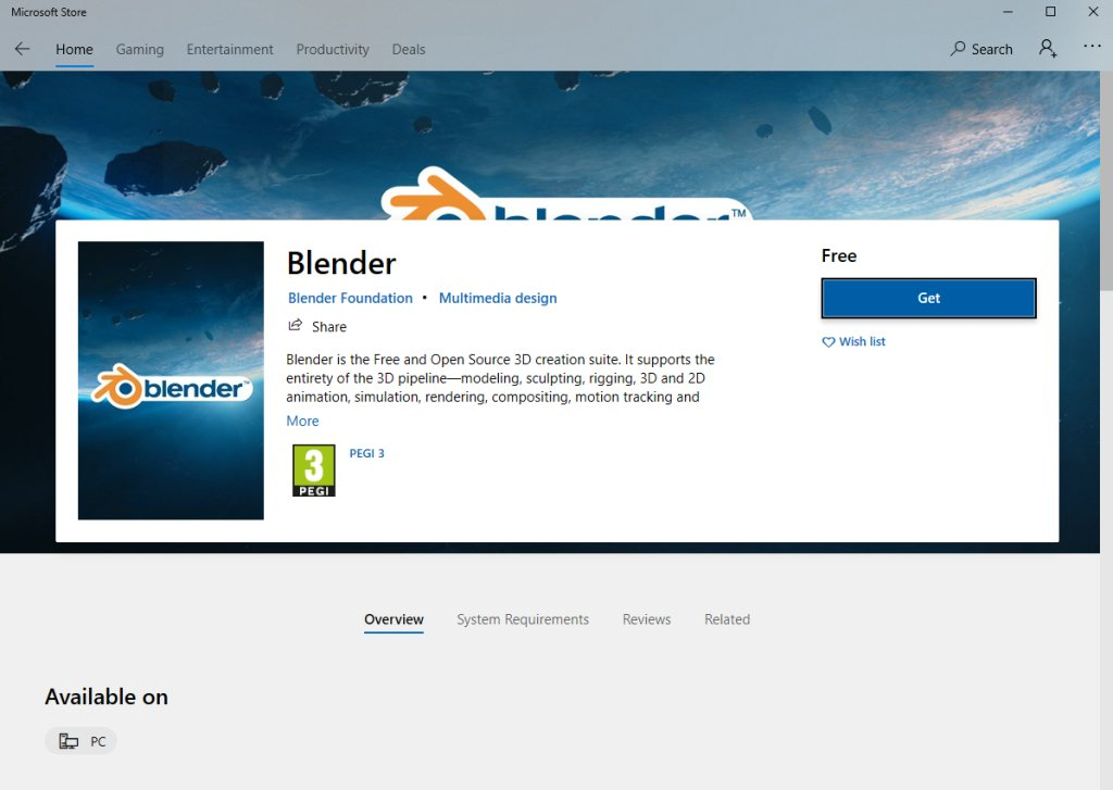 Blender's page on the Microsoft Store