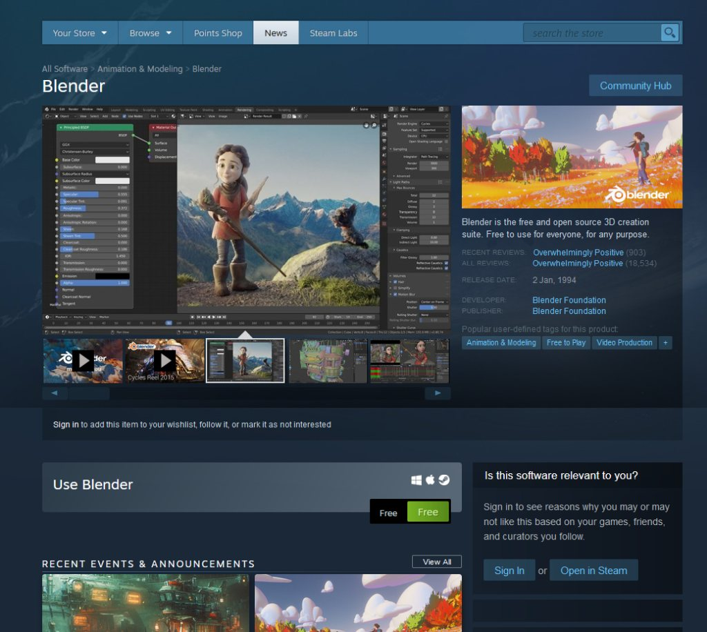 Blender's store page on steam.