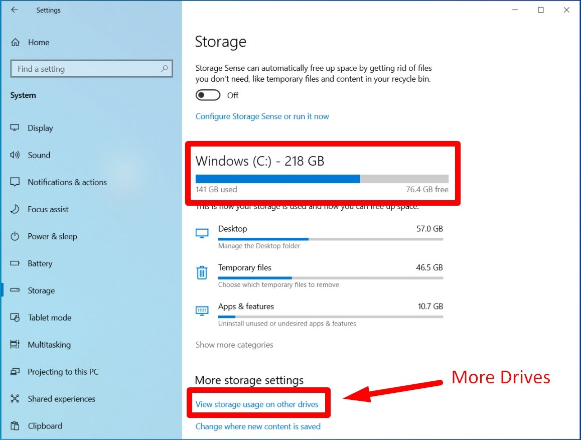 Check your storage Space on Win 10