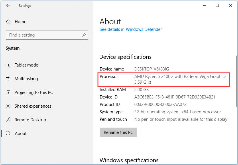 How to find out What CPU you have Win10