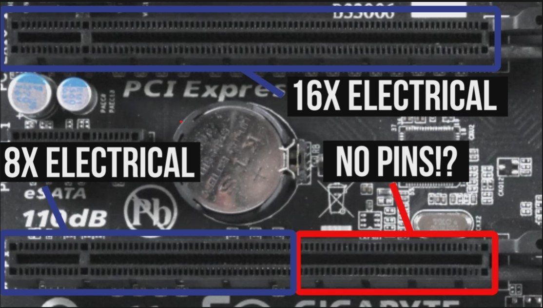 Comparison of x8 and x16 pcie slots showing missing pins