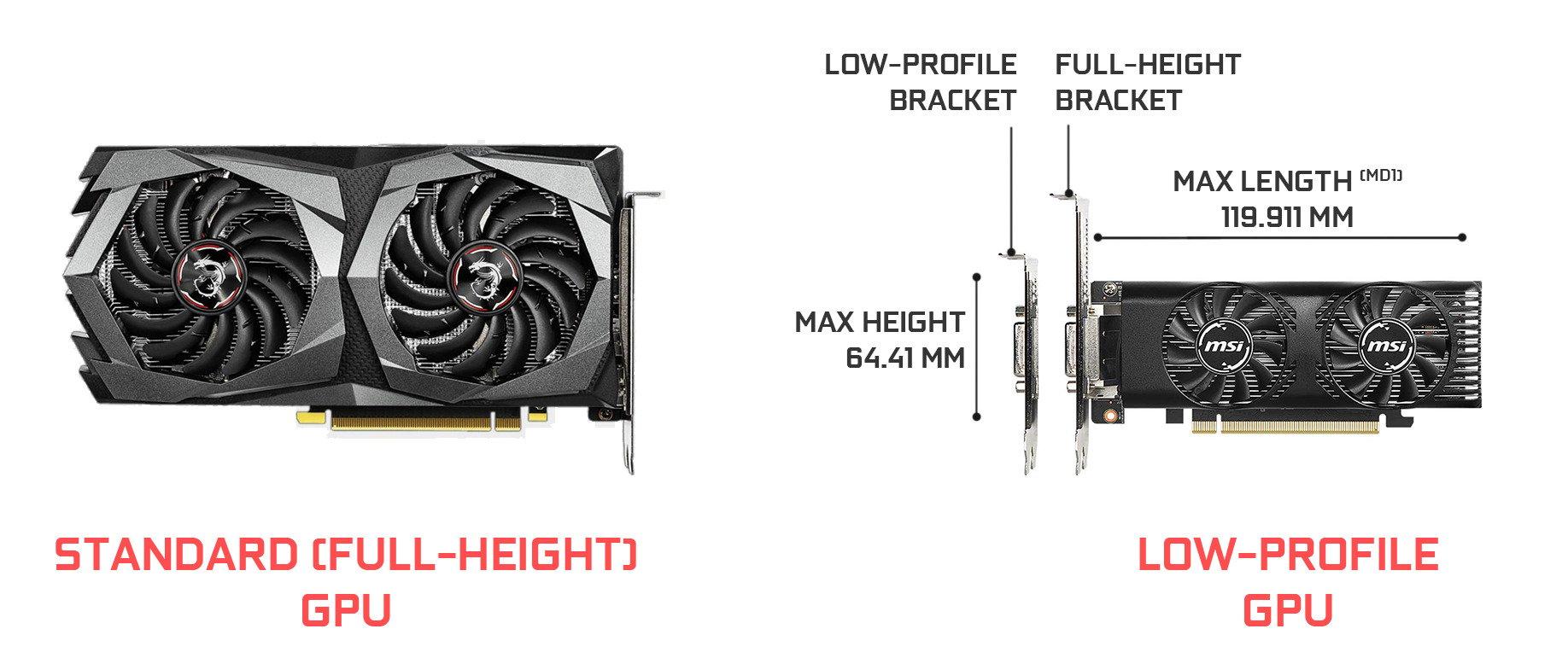 low-profile gpu overview comparison to standard sized gpu