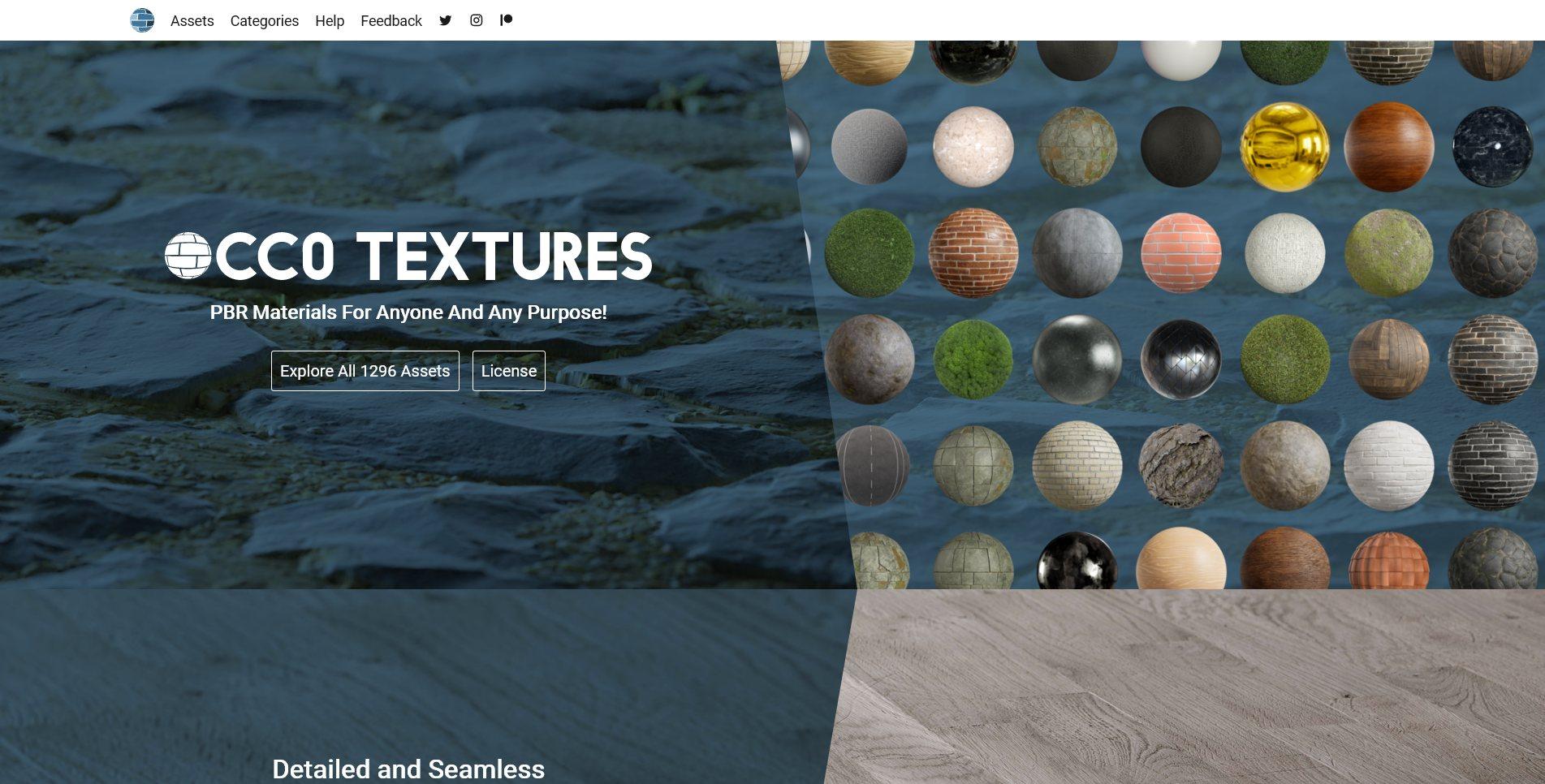 Texture Site Screenshot of CC0 Textures