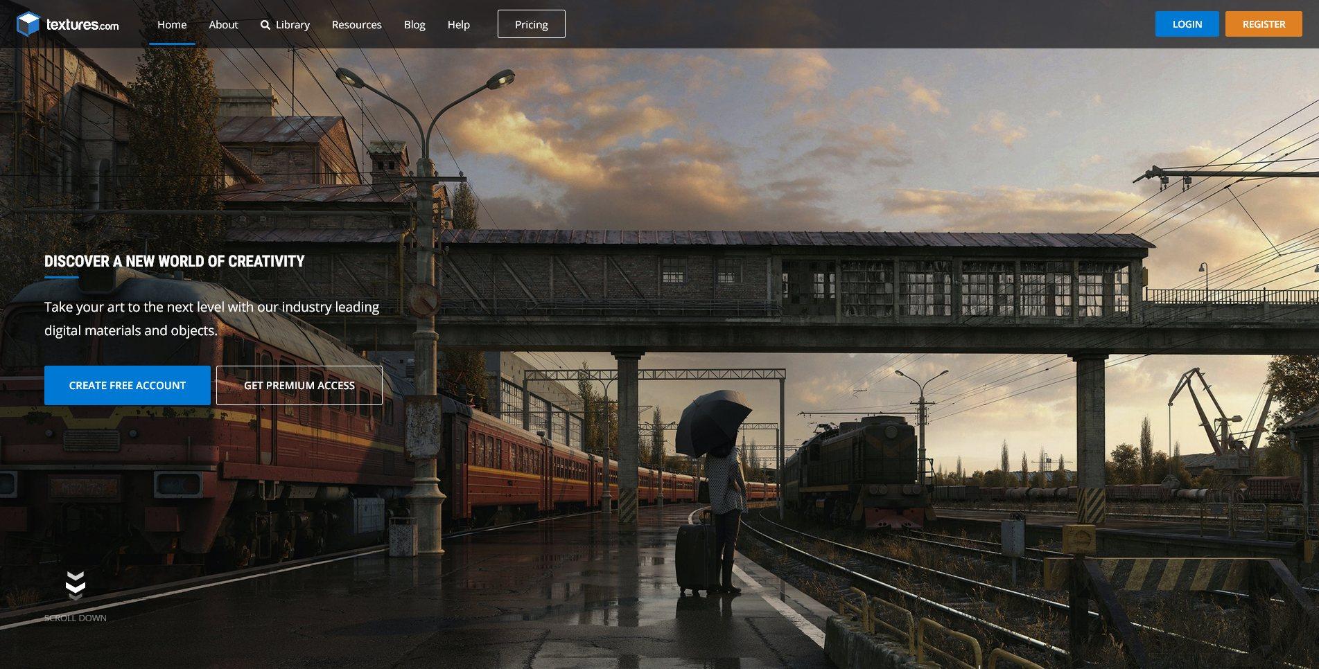 Site Screenshot of Textures.com