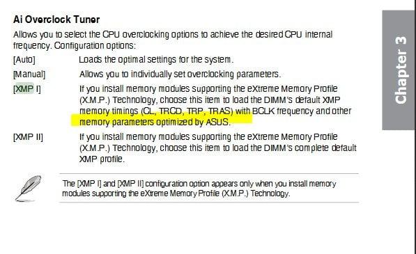 AI Overclock Tuner XMP Profile 1 and 2