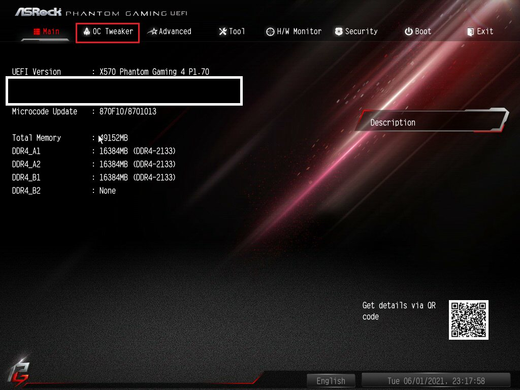 ASRock Bios Screenshot 1 - Setting up XMP Memory Profiles