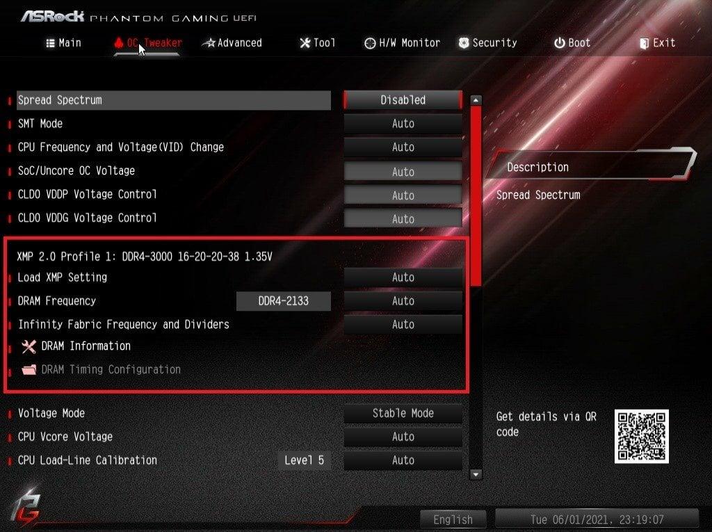 ASRock Bios Screenshot 2 - Setting up XMP Memory Profiles
