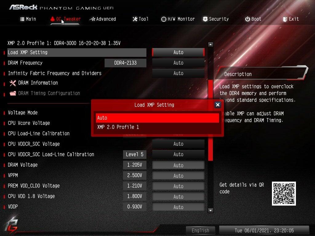 ASRock Bios Screenshot 3 - Setting up XMP Memory Profiles