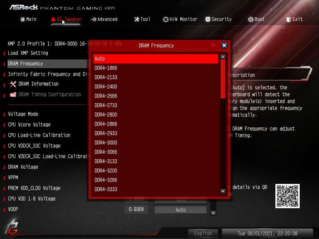 ASRock Bios Screenshot 4 - Setting up XMP Memory Profiles