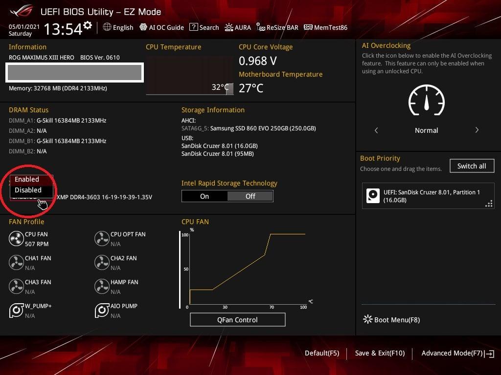 Asus Bios Screenshot 2 - Setting up XMP Memory Profiles