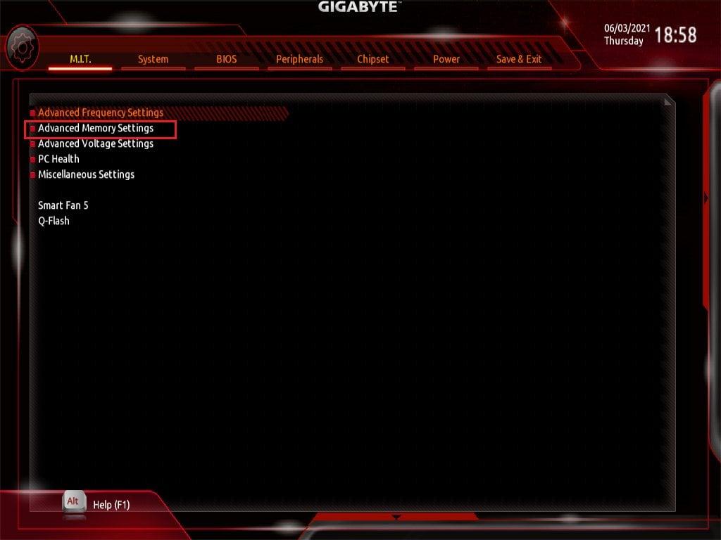 Gigabyte Bios Screenshot 1 - Setting up XMP Memory Profiles