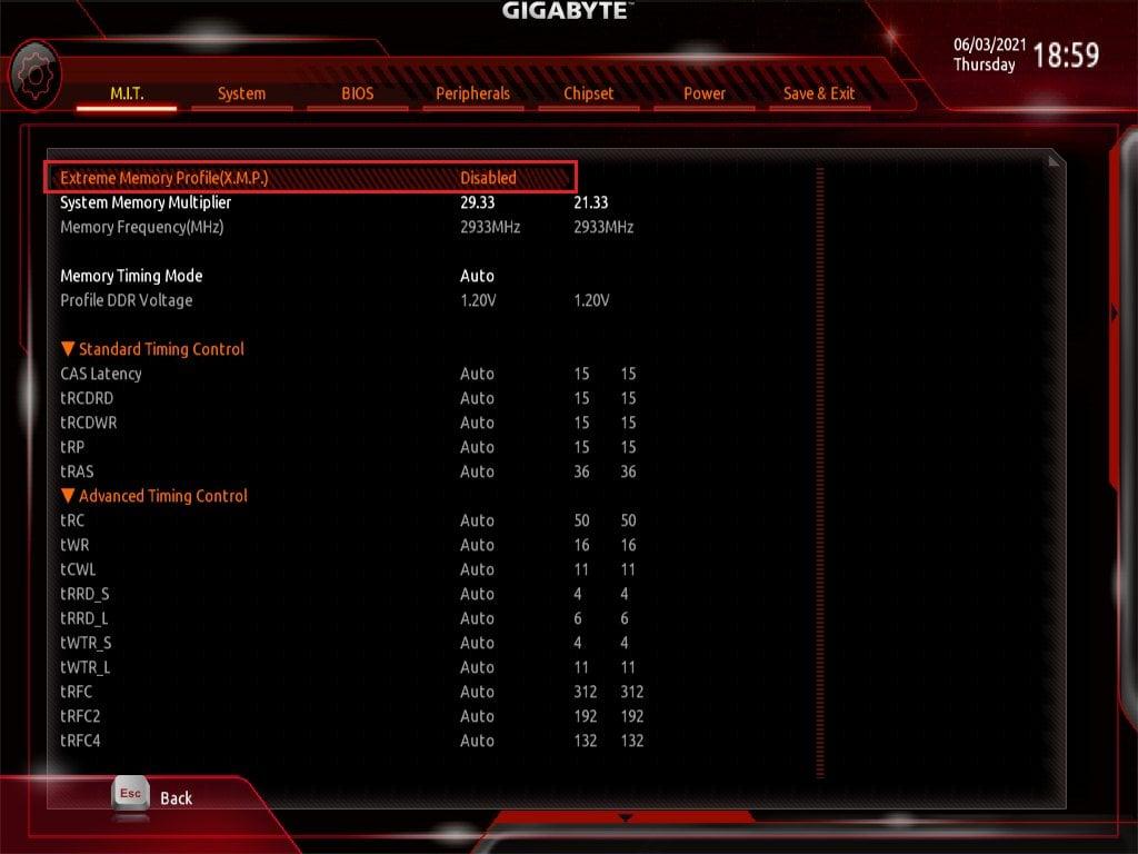 Gigabyte Bios Screenshot 2 - Setting up XMP Memory Profiles