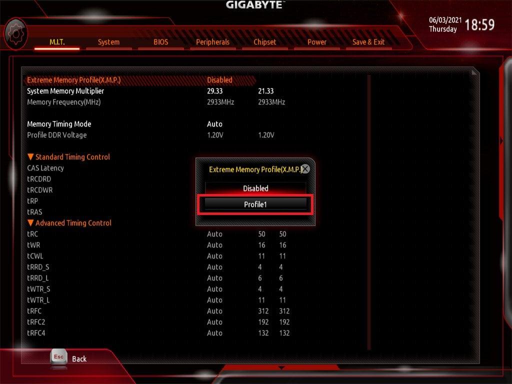 Gigabyte Bios Screenshot 3 - Setting up XMP Memory Profiles