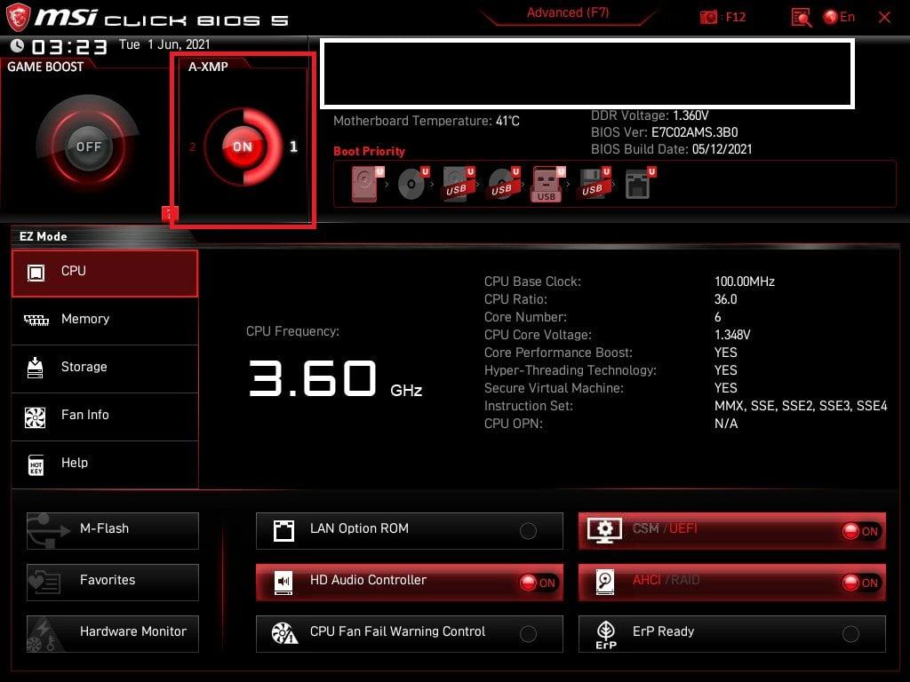 MSI Bios Screenshot 1 - Setting up XMP Memory Profiles
