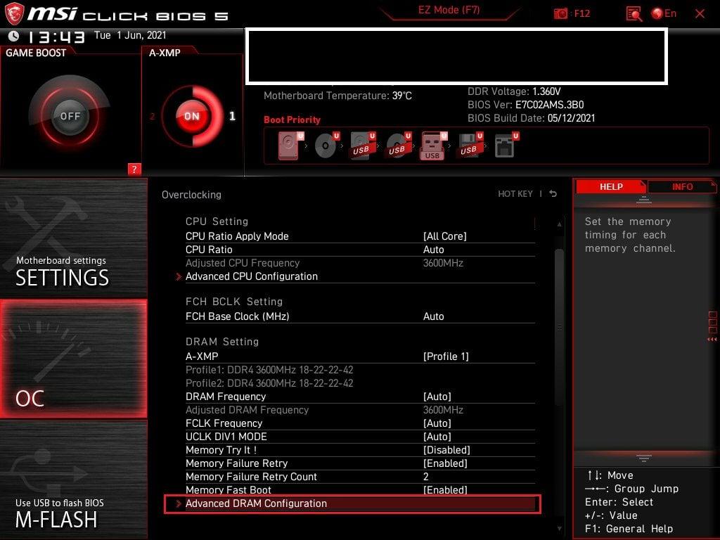 MSI Bios Screenshot 6 - Setting up XMP Memory Profiles