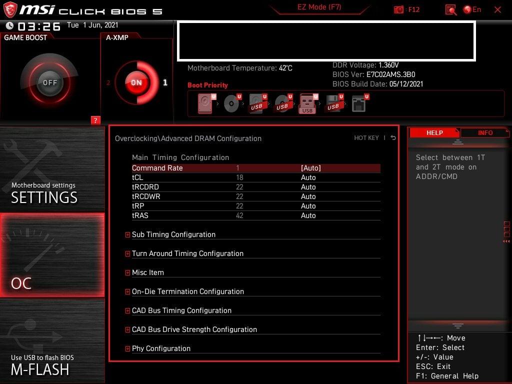 MSI Bios Screenshot 7 - Setting up XMP Memory Profiles