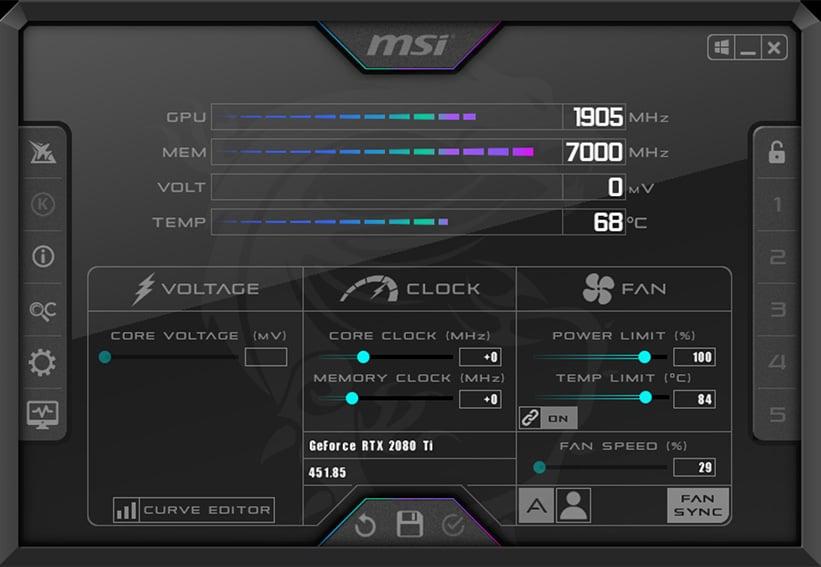 MSI Afterburner GPU Overclock Settings increase GPU Temperatures