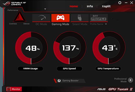 ASUS GPU Tweak II Temperature Display