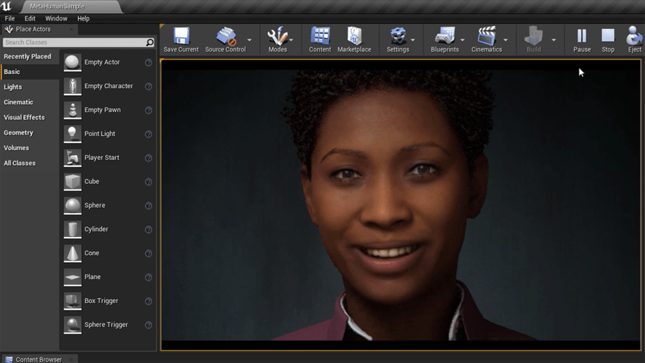 Metahuman 3D Software for modeling Human Characters