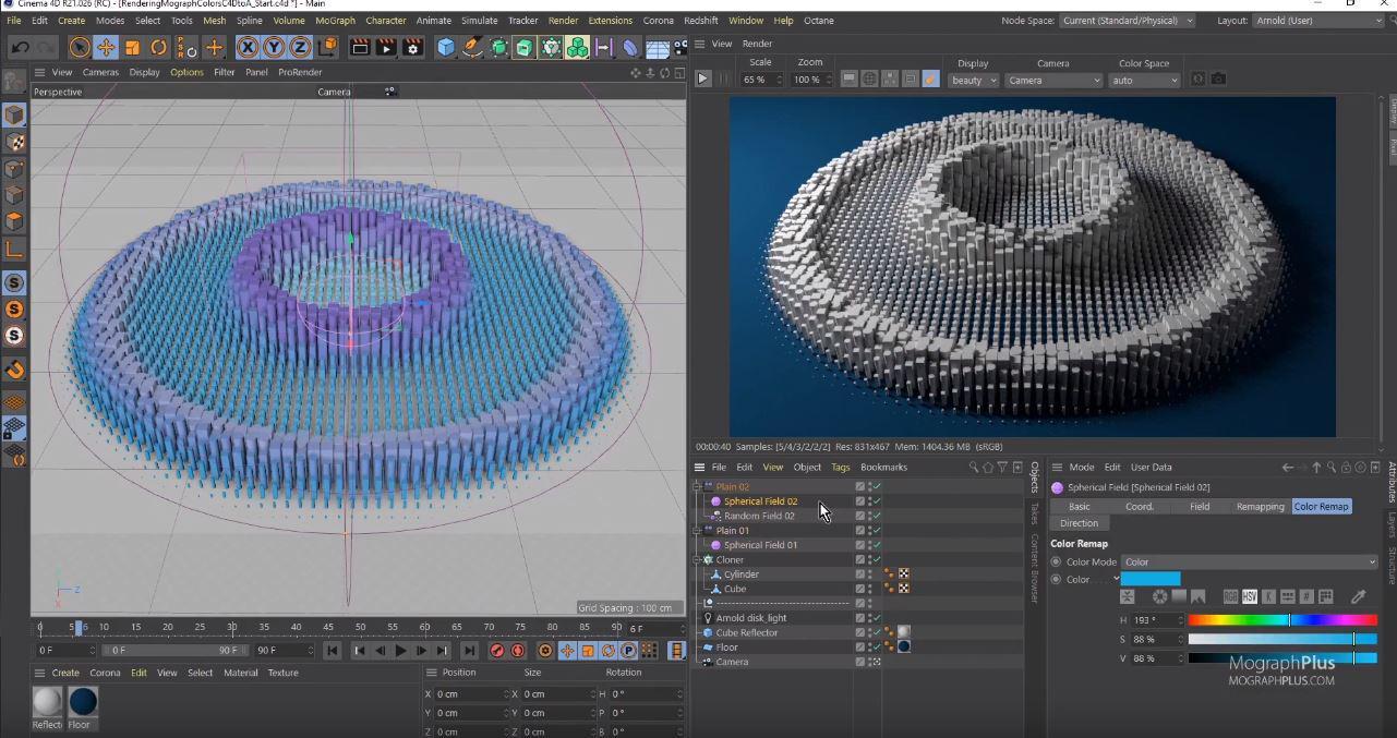 Cinema 4D's Mograph Module for Motiongraphics & non-destructive Animations