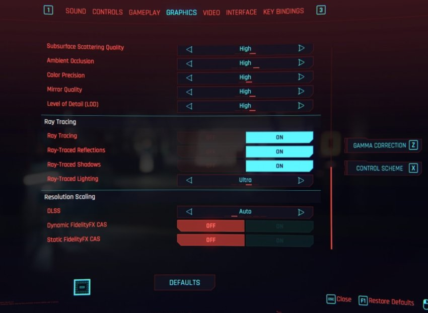 Cyberpunk In-Game RTX Ray-Tracing Setting to enable RTX