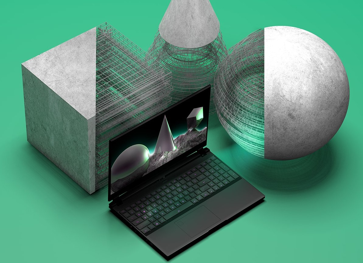 Laptop in a 3D Modeled Environment