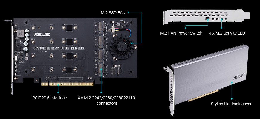 Asus HYPER M.2 X16 CARD M.2 PCIE Adapter