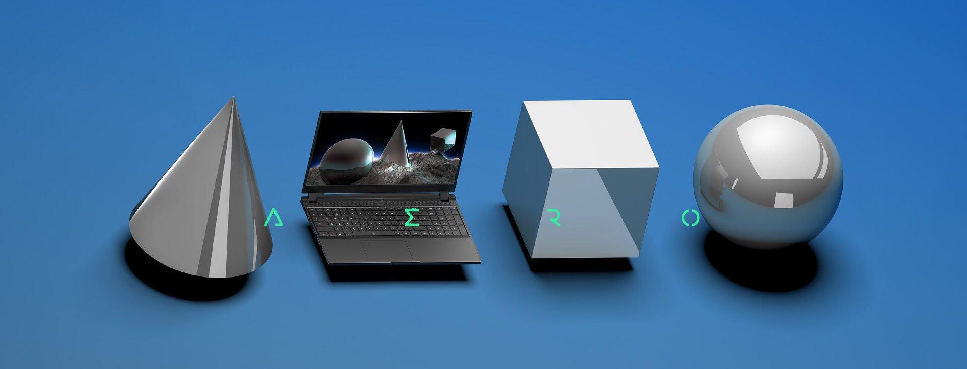 Laptop along side 3D Modeled Objects