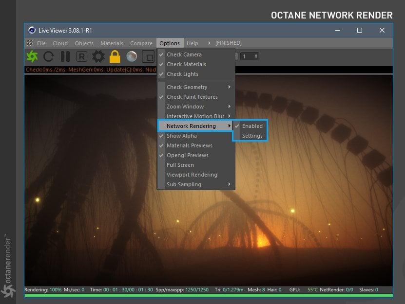 Octance Network render Settings