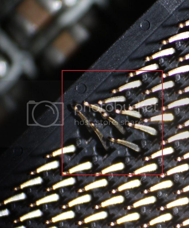 Bent LGA Pins (on Motherboard)